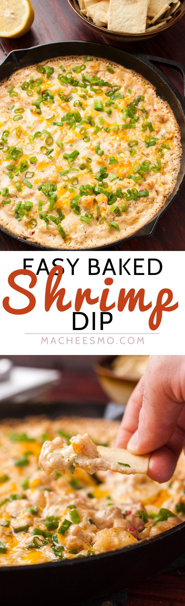 Easy Baked Shrimp Dip: This delicious and simple appetizer combines just a few ingredients and is a seafood lover's dream! All baked in a cast iron skillet!