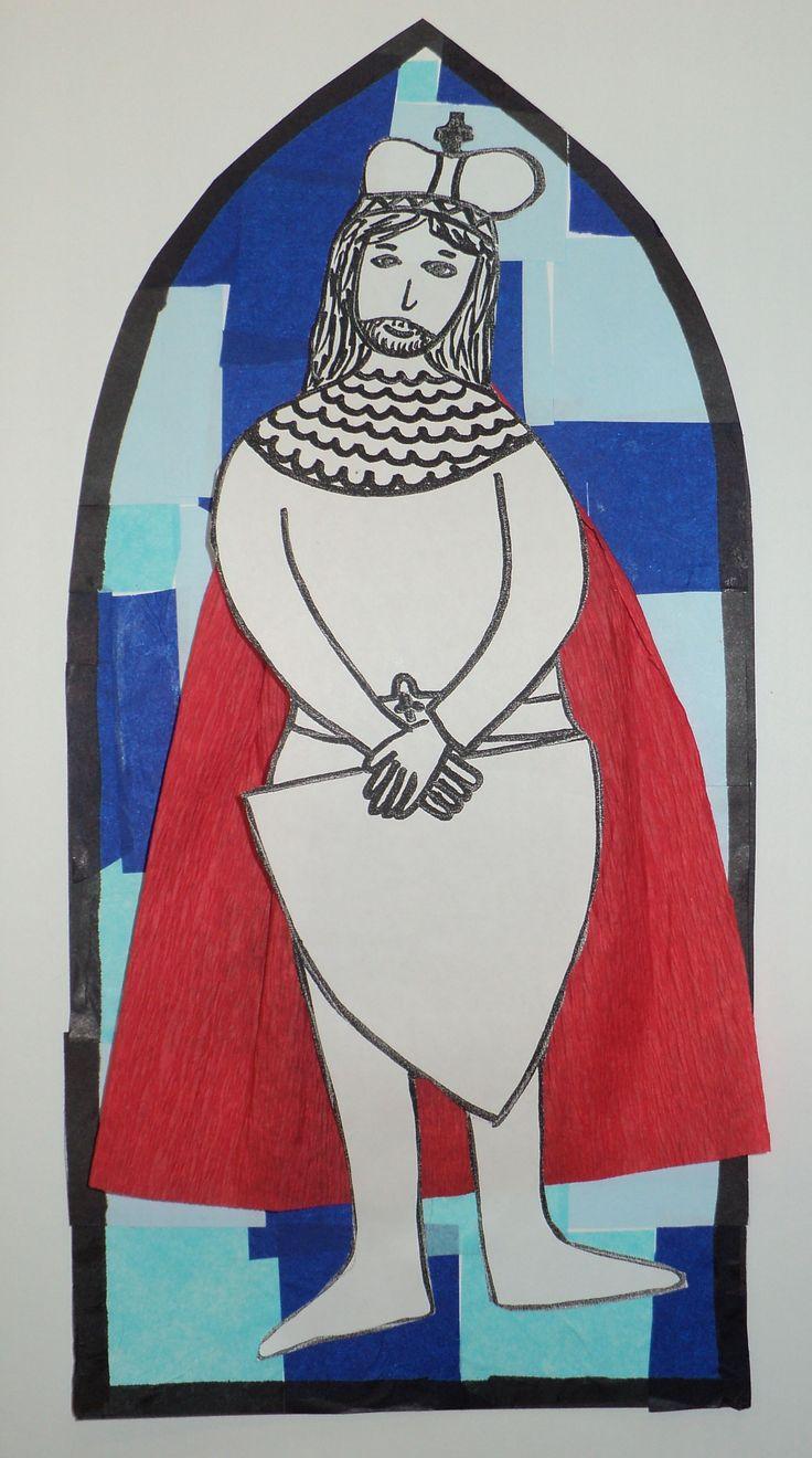 Svatý Václav - hedvábný a krepový papír, fix