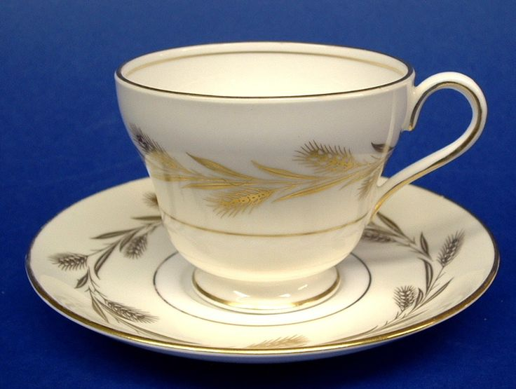 Shelley Golden Harvest Cup and Saucer Windsor Wheat 1950s Demitasse