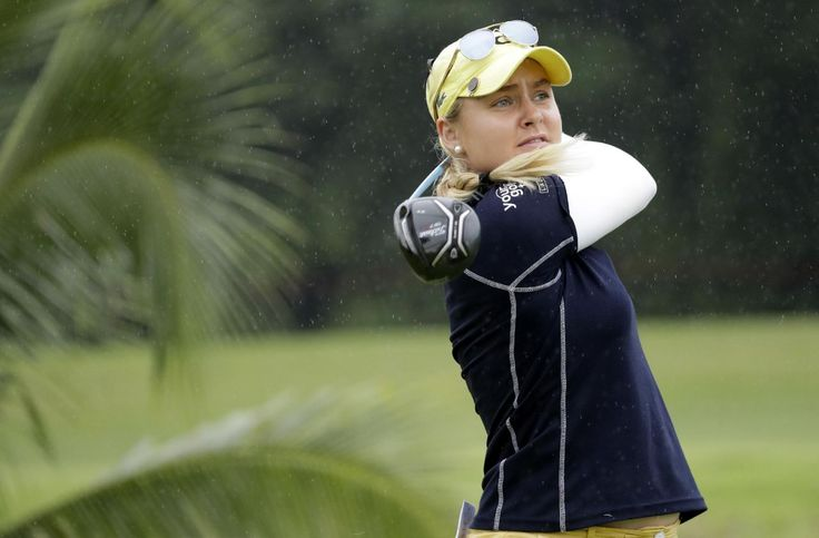 Charley Hull of Britain tees off on the 6th hole during the HSBC Women's Champions golf tournament held at Sentosa Golf Club's Tanjong course on Saturday, March 4, 2017, in Singapore. (AP Photo/Wong Maye-E)