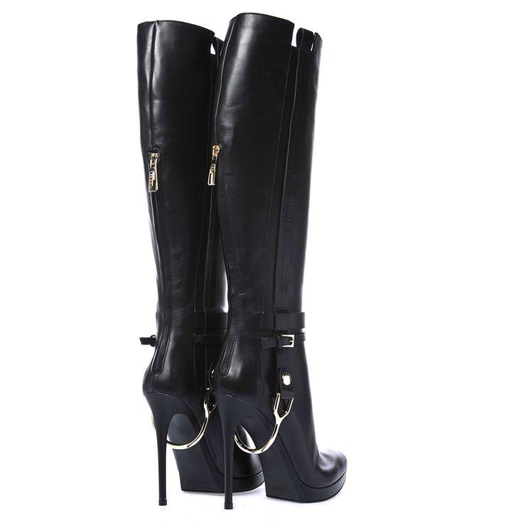 Woman shoe - BOOTS IN BLACK CALFSKIN - Baldinini -