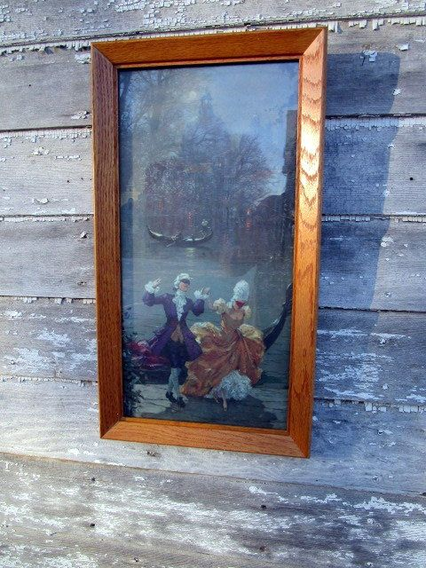 Vintage Masquerade Ball Dancing by Moonlight Venice Gondola Victorian Couple Framed Print by Holliezhobbiez on Etsy