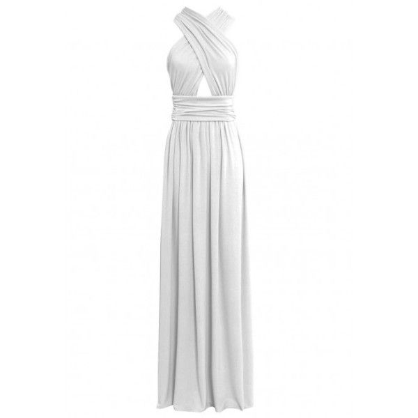 Gorgeous Couture Cross Over Iris Maxi Dress in White ❤ liked on Polyvore featuring dresses, white jersey dress, white maxi dress, jersey knit dress, white beach dresses and ruched waist dress