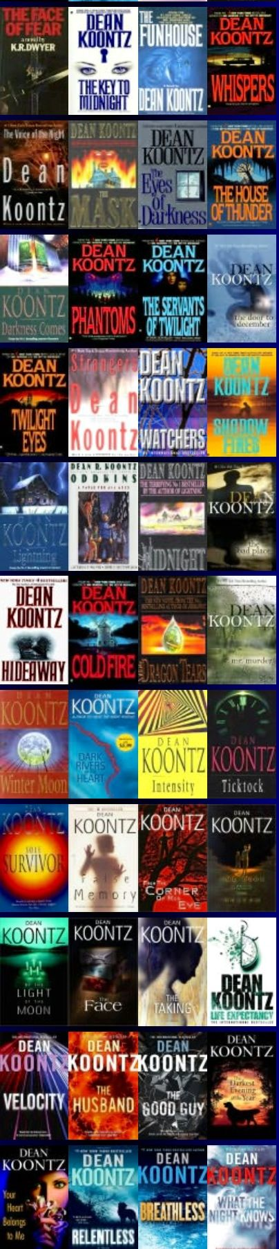 Author: Dean Koontz when i'd ran out od stephen king, richard laymon, this was the guy i went to next amaxing :)