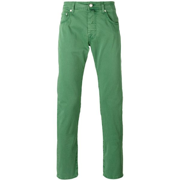 Jacob Cohen Tapered Jeans ($277) ❤ liked on Polyvore featuring men's fashion, men's clothing, men's jeans, mens green jeans, mens slim fit tapered jeans and mens tapered jeans