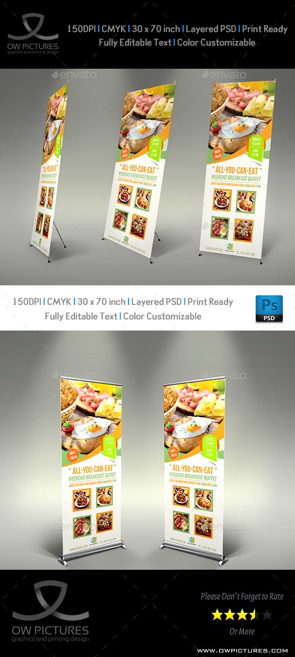 Breakfast Restaurant Rollup Signage Template Vol2