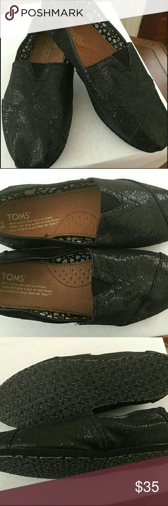 Brand new black glitter toms! Womans black glitter toms Brand new never been worn!! Toms Shoes Flats & Loafers