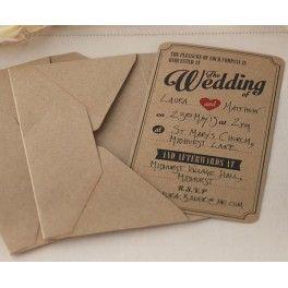 Pak met 10 vintage uitnodigingen met bijpassende envelop