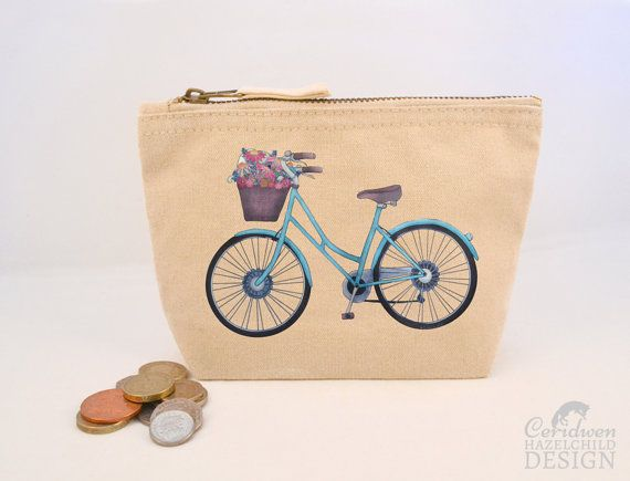 Bicycle Canvas Zip Purse Makeup Bag Coin Purse Small Accessory Pouch by ceridwenDESIGN http://ift.tt/1RxJ5iC