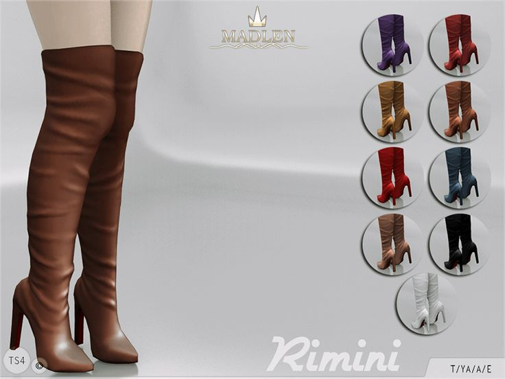Beautiful knee high boots! Come in 10 colours (leather texture). Joints are perfectly assigned. All LODs are replaced with new ones.  Found in TSR Category 'Sims 4 Shoes Female'