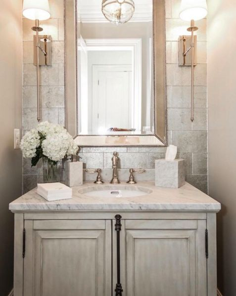 Sweet And Elegant Powder Room By Castlewood Custom Builders