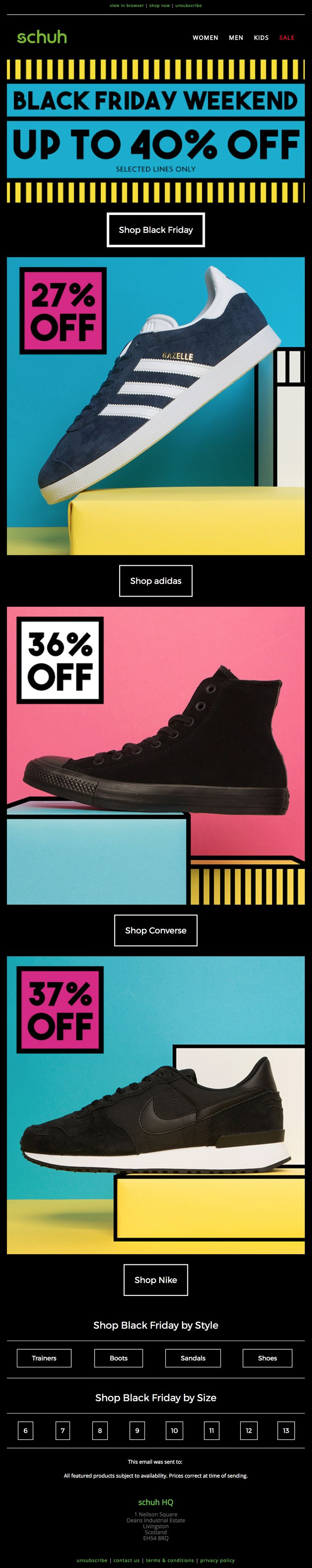 Nice email design for Black Friday from Schuh