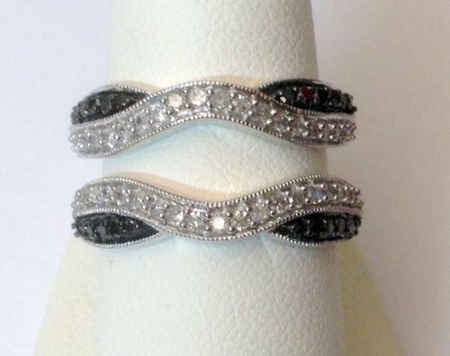 White Gold Solitaire Enhancer Black And Diamonds Ring Guard Wrap Tw Rg D Is A Unique Collection Of Wedding Rings Engagement Fashion