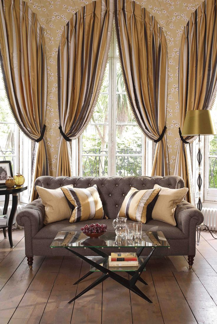 living room window valance ideas%0A UPTON fabric made into statement curtains