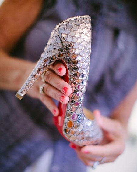 Silver Snake Skin Bridesmaids Shoes