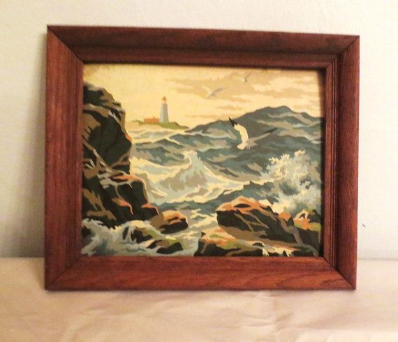 Seascape Paint by numbers framed in wood by ArtnVintagebyDesign, $28.95