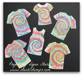 Stampin'Up! Tie Dyed stamp set and T Shirt Builder Framelits http://www.starzlstamps.com/2017/01/tie-dyed-stamp-set.html