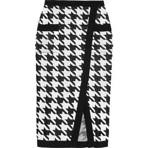 Balmain Houndstooth-intarsia knitted pencil skirt