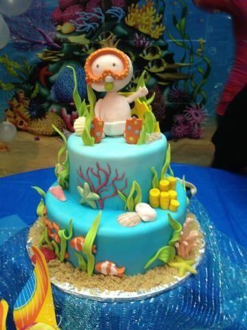 Under The Sea Baby Shower Cake Idea cakepins.com