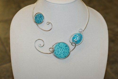 Turquoise necklace - Turquoise jewelry - Metal wire necklace | LesBijouxLibellule - Jewelry on ArtFire