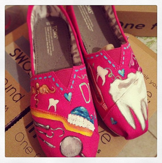 Handpainted TOMS Shoes- DENTIST- PINK Shoes- Dental Theme ...