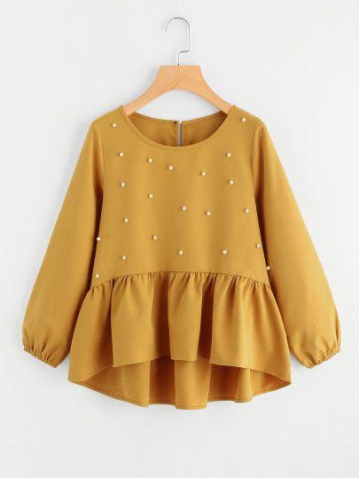 Модная асимметричная блуза с оборкой и бусинами