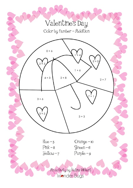 FREE! Valentine's Day Color-by-Numbers: Addition to 10