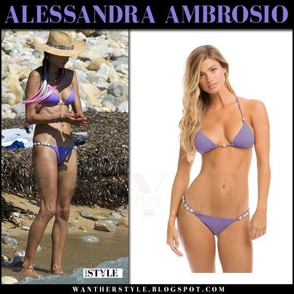 Alessandra Ambrosio in purple triangle bikini Ibiza July 10 2017