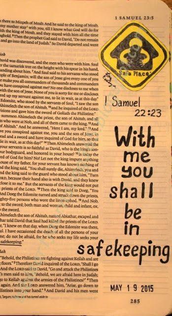 Easy Bible Art Journaling Journey: 1 Samuel 22:23 (May 19th)