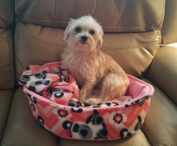 Fleece Pet Bed Small Dog Bed Puppy Bed Fleece pet by SewCat