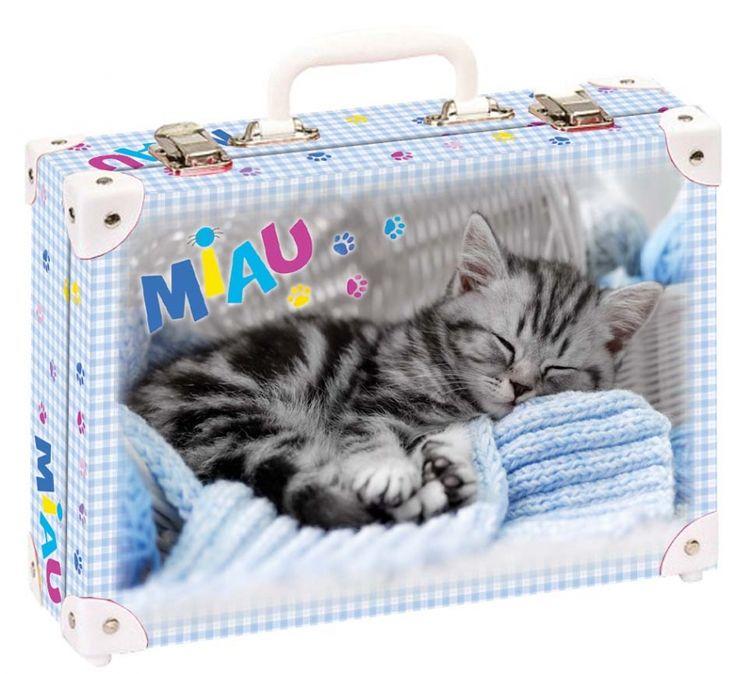 Školní kufřík malý - 33x23x10cm č. 21737 HK Malý Roztomilý malý kotě spí