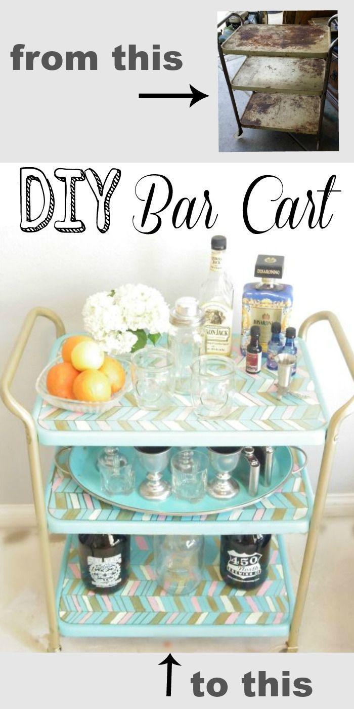 A $2.00 metal cart became this beautiful upcycled bar cart