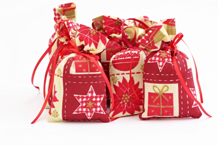 OCT: Lavender bag sachet christmas red fabric natural twine