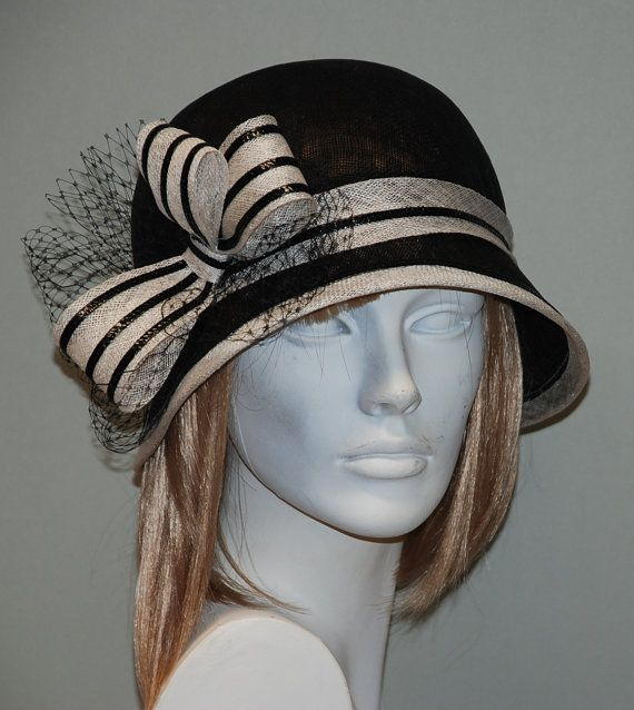 Black and white vintage cloche hat for women, Gatsby cloche hat for women, wedding hat, church hat
