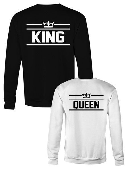 King and Queen crewneck sweatshirts; KING & QUEEN sweatshirts; Partnerlook; Partnershirts; Couple gift ideas, anniversary gifts ♛ Royalty couple outfit by @sugararmyshop