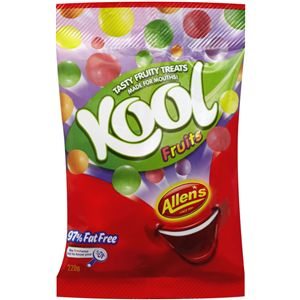 A bulk box of 12 bags of Allens Kool Fruits.