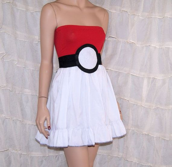 Hey, I found this really awesome Etsy listing at https://www.etsy.com/listing/196471312/pokeball-summer-tube-top-dress-cosplay