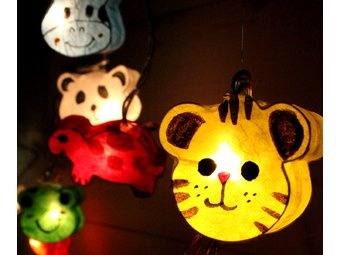 Fairy Lights -Animal Lanterns.These funky LED light strings consist of 20 colourful paper animal ...