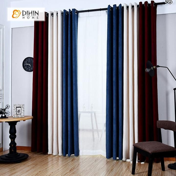 Dihin Home Blue White Red Printed Velvet Blackout Grommet Window