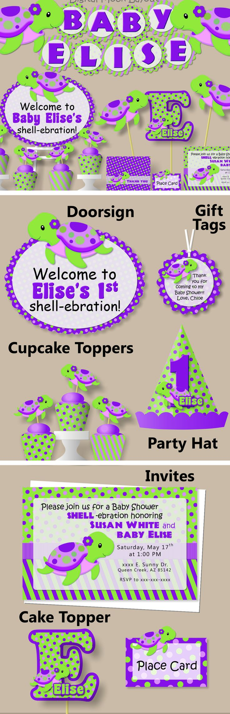 Purple Turtle Baby Shower or Birthday Party Decorations #bcpaperdesigns
