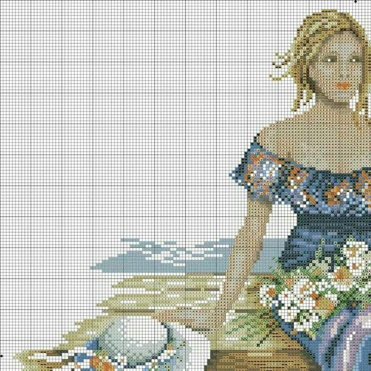 Mujer con gaviotas
