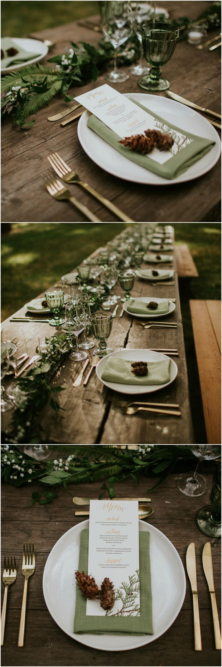 Wedding in the woods, reception décor, sage green linens, gold flatware, bare tables, pinecones // Weddings by Sunnyside