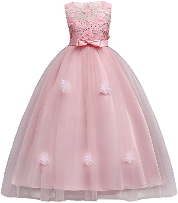 UK Chiffon Flower Girl Dress Girls Princess Bridesmaid Pageant Formal Party Gown