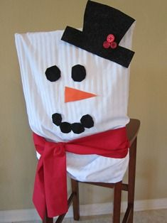 Use a pillowcase for a snowman Christmas chair cover - so cute!