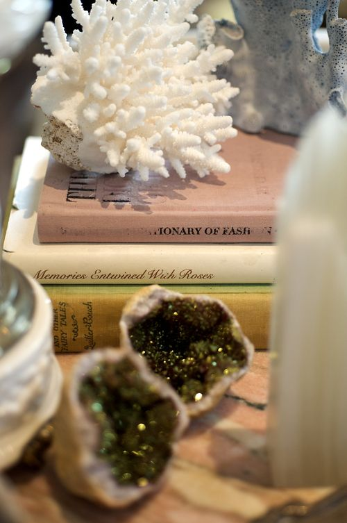 Decorative coral and geodes accessorize an antique side table in Erin Fetherston's living room. (Photography: Carol Dronsfield)