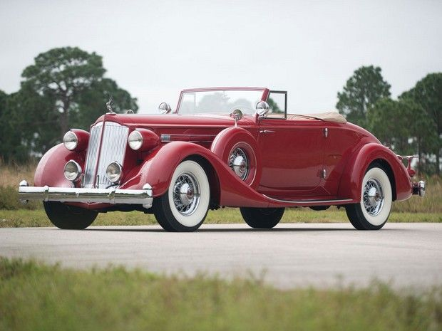 Red 1936 Packard Twelve Coupe Roadster. #vintage #cars #1930s