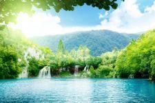 Sunny blue lake hd wallpaper