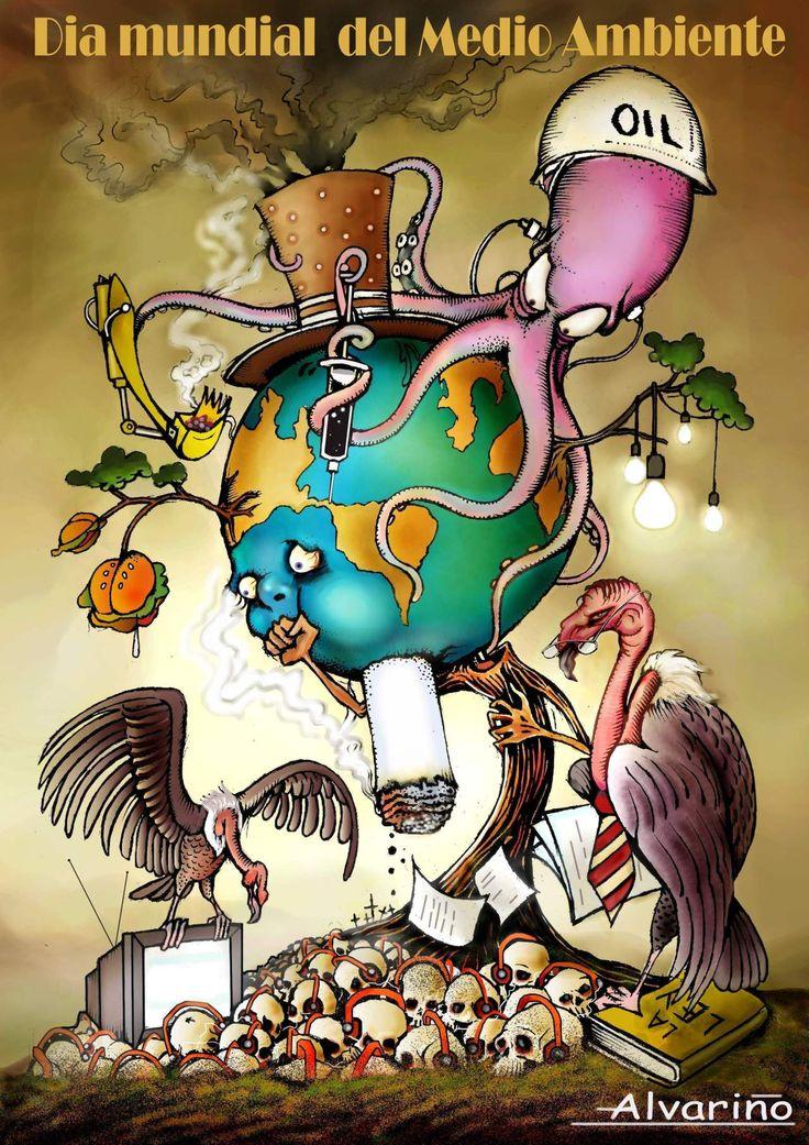 Afiche del dia mundial del medio ambiente: SINTACTICO: Ilustracion que muestra la la conaminacion en el planeta, a partir de diversos elementos y dibujos, utilizando colores luminosos, con luz y sombra para dar profundidad y que se pueda expresar la contaminación a partir de sombras y colores oscuros, filete negro mostrando un contraste de lo que es figura/fondo, en donde la figura es el de mayor importancia dentro del afiche.