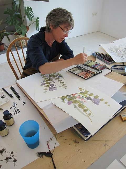 Angie Lewin as artist in residence at Cortijada Los Gasquez, Andalucia