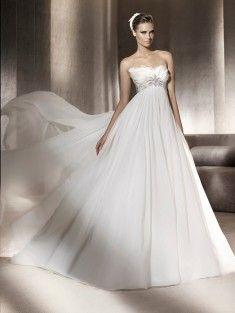 A-Line/Princess Strapless Court Train Organza Sleeveless Wedding Dress With Beading